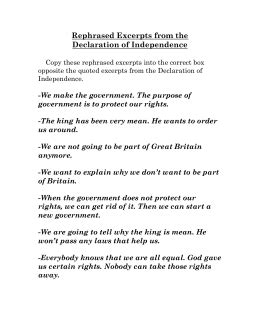 Analyzing The Declaration Of Independence Worksheet Answers