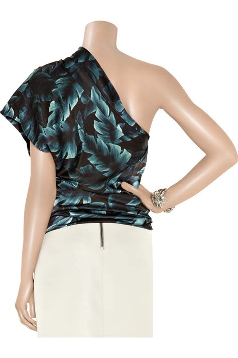 For Printed Satin by Lanvin Printed Silk Satin One Shoulder Top In Blue Lyst