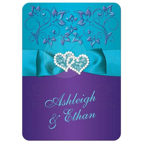 wedding invitation purple teal blue floral printed ribbon bow joined jeweled hearts