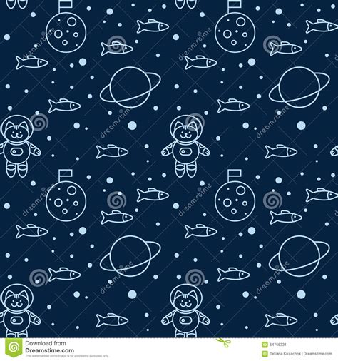 html pattern no whitespace pattern with cat in space stock vector illustration of