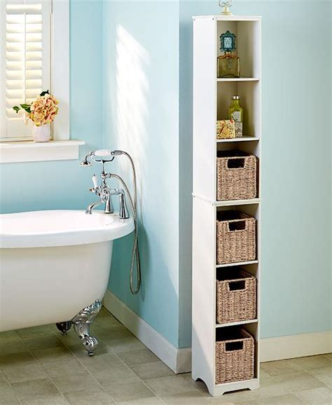 new slim storage tower cabinet shelf cubby seagrass