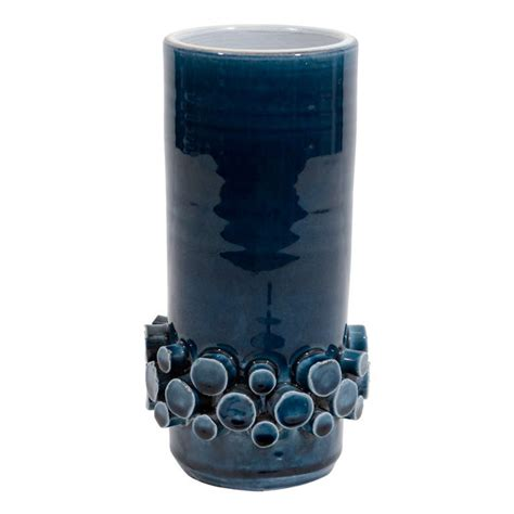 Teal Vases For Sale by Mid Century Teal Blue Vase With Quot Knob Quot Band Detailing By