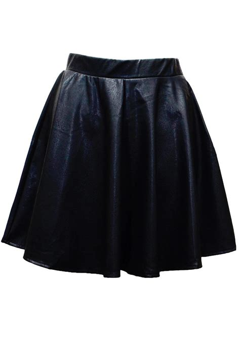 womens apparel circle high waisted skater skirt faux