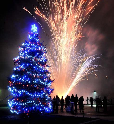 fireworks light sky at tree lighting ceremony in paradise