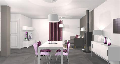 d 233 coration salon gris blanc violet