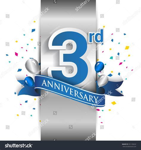 3rd Anniversary Logo Silver Label Blue Stock Vector