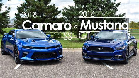 mustang gt vs camaro ss 2016 ford mustang gt vs 2016 chevrolet camaro ss