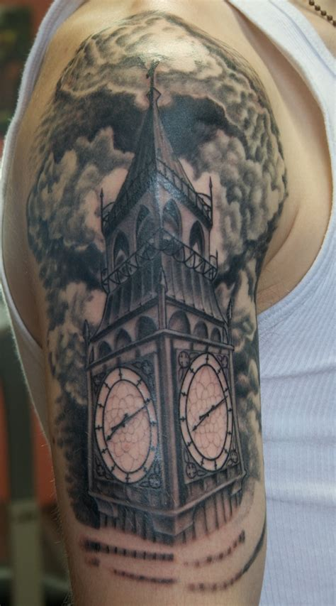 clock tower tattoo black and white tattoos on behance