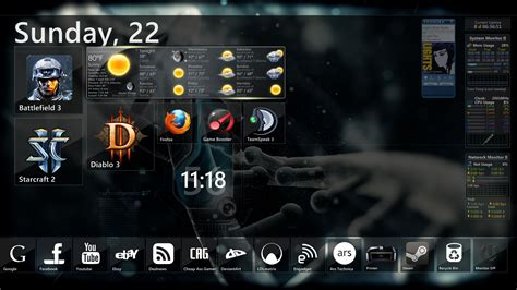 Win Win Win Gadget Skins From Skins4things by Current Desktop Theme Rainmeter Win7 Gadgets By