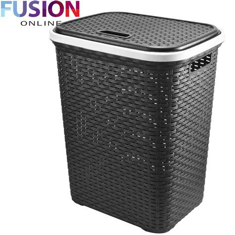 laundry uk large laundry basket washing clothes storage her rattan style plastic basket ebay