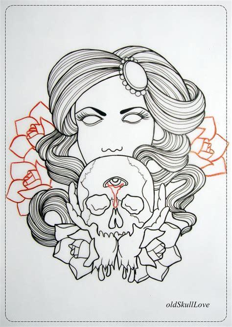 skull tattoo outline designs dead with skull design outline by oldskulllovebymw