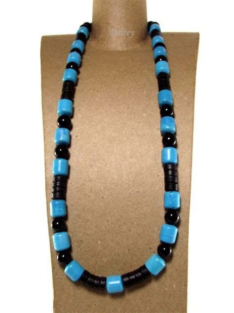 mens turquoise and black beaded necklace