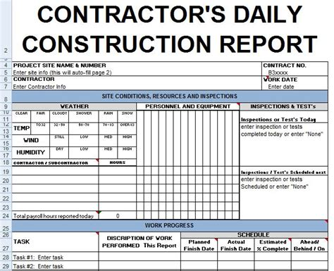 section 7 report exle contractors daily report template excel civil