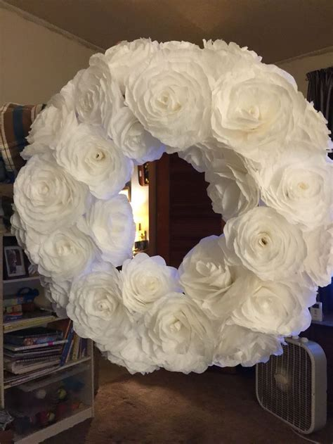 Coffee Filter Paper Crafts - white coffee filter flower wreath arts and crafts ideas