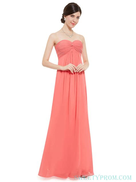 Coral Bridesmaid Dress by Chiffon Strapless Length Coral Bridesmaid