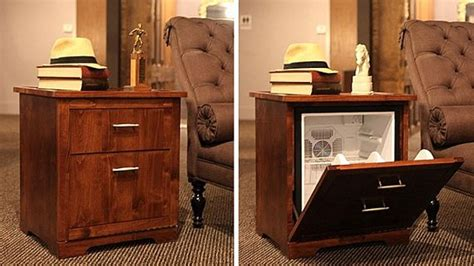 mini fridge that looks like a file cabinet man table hides a mini fridge behind the drawers