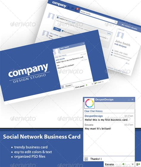 print template graphicriver social network business card