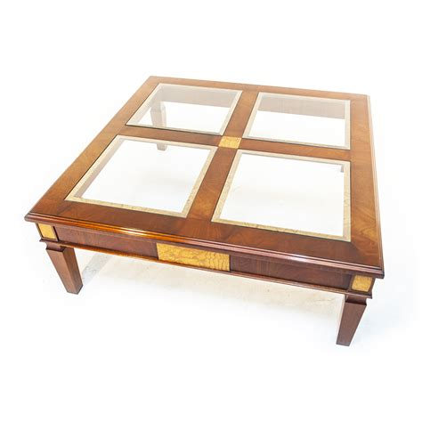 Mahogany And Glass Coffee Table Charles Barr Grandeur Four Panel Mahogany And Glass Coffee Table