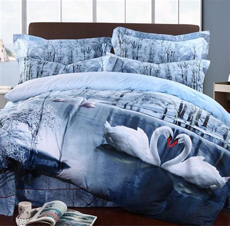 3d swan lake bedding set print reactive100 cotton high