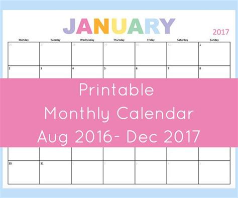 printable monthly calendar dated