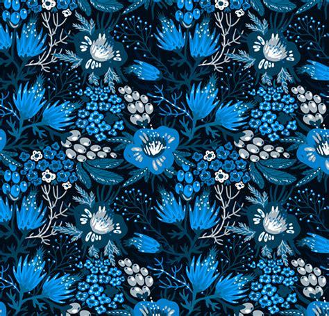 Blue Mood blue mood vector set of seamless floral patterns on behance