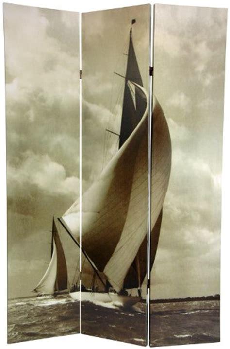 Nautical Room Divider Panel Screens Wall Photograph Sailboat Nautical 6ft Black White Printed