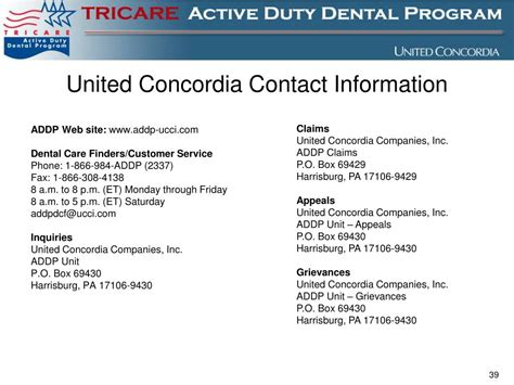 united contact ppt military dental treatment facility tricare active
