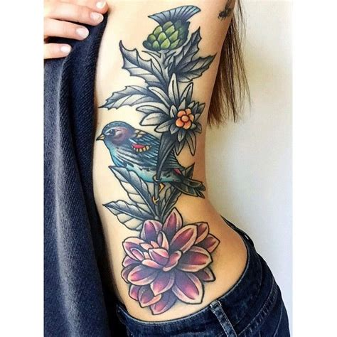 yellow rose tattoo utah dahlia edelweiss thistle sparrow or bird