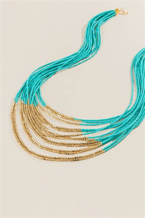 turquoise seed bead necklace lola turquoise seed bead necklace s