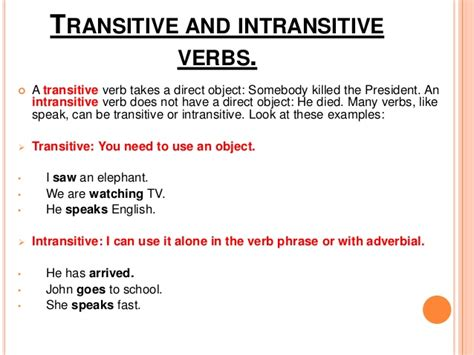 sentence pattern intransitive verb image gallery transitive verb