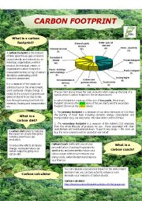Carbon Footprint Calculator For Worksheet by Teaching Worksheets Environment And Nature