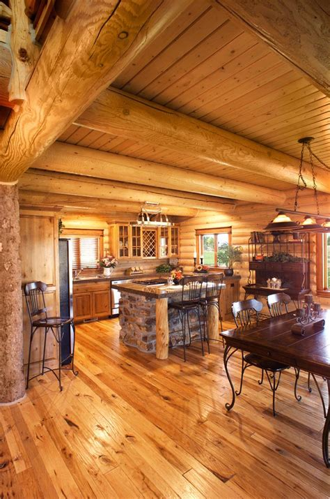 Log Home Kitchen Design   Yellowstone Log Homes