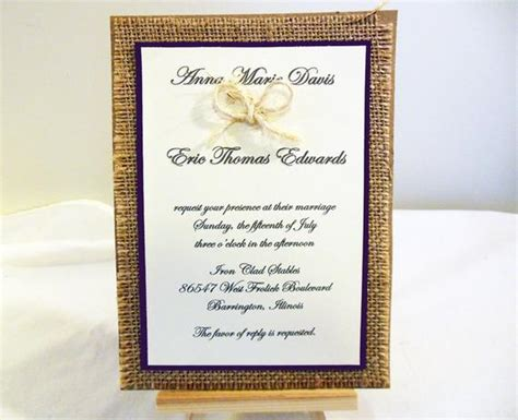 diy rustic burlap wedding invitation kit custom wedding