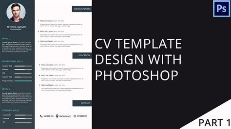 cv format youtube modern cv template design with photoshop part 2 2 psd