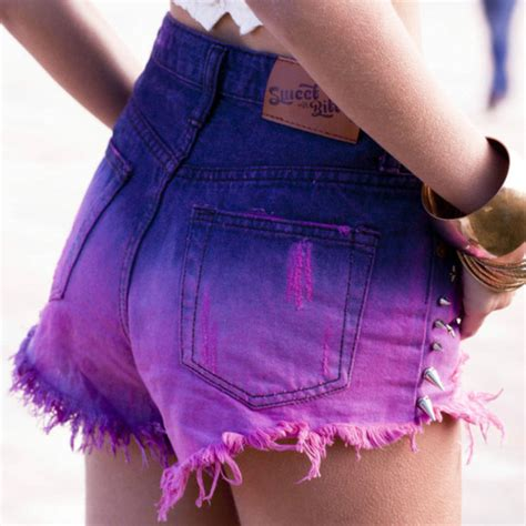 Sweet And Girly Shorts by Shorts Pink Blue Purple Girly High Waisted