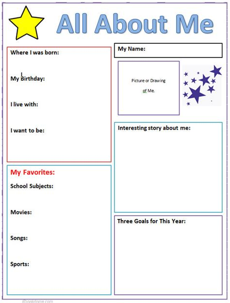 About Me Template 5th grade serrania computer lab