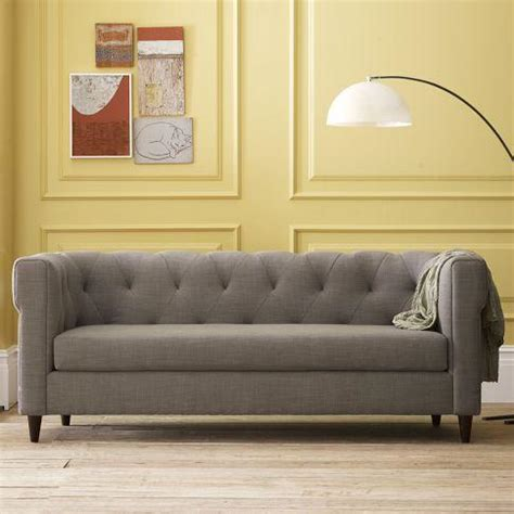 couch west elm chester tufted upholstered sofa west elm