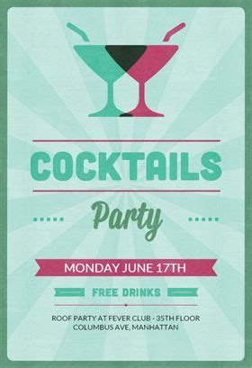 cocktail parties free printable invitations and