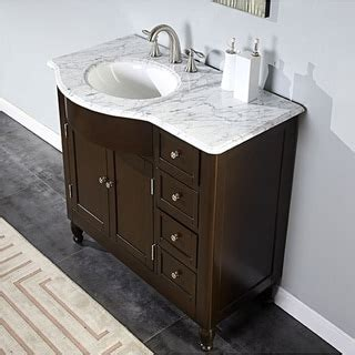 off center sink bathroom vanity silkroad exclusive 38 inch carrara white marble stone top