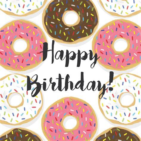 Happy Birthday Doughnuts by Mmm Doughnuts Happy Birthday Card Illustration
