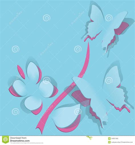 butterfly greeting card template flower with butterfly from paper stock vector image