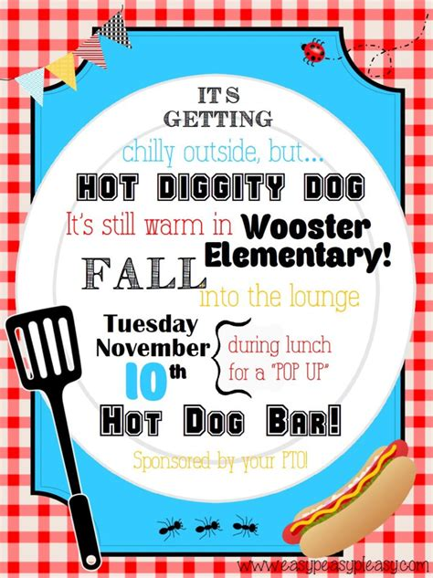 Teacher Appreciation Lunch Ideas Hot Dog Bar Easy Peasy Pleasy Free Luncheon Flyer Template
