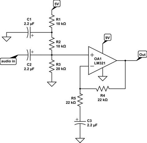 signal buffer lifier op convert an audio signal to 0 5v using single supply op electrical engineering
