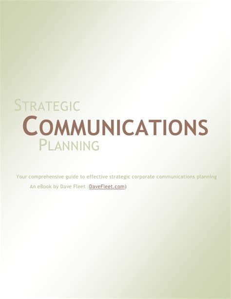 strategic communications planning a free ebook