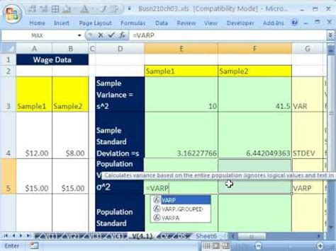 sle variance how to calculate variance of a sle in excel