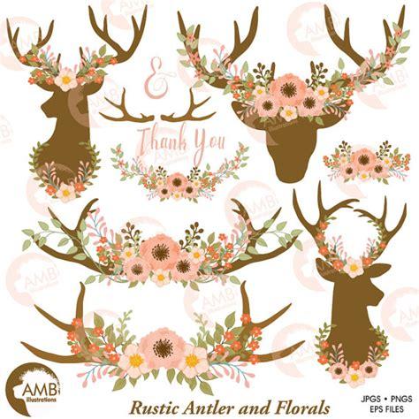 hochzeitseinladung hirschgeweih wedding clip floral antlers antler and floral wreath