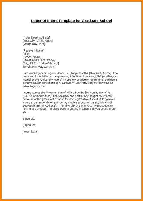 letter of intent graduate school 3 letter of intent for graduate school letter format for
