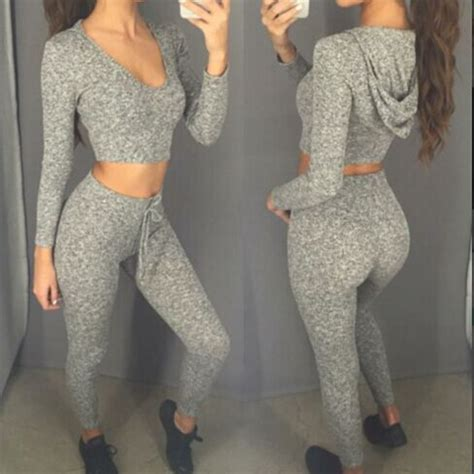 17935 Hoody Set Sweater Trousers Size M L Xl gray two sets fitness sleeve v neck crop tops sportswear sweat suits