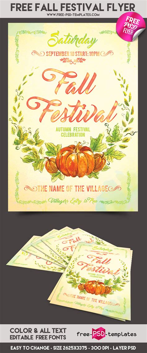 Free Fall Festival Flyer In Psd Free Psd Templates Free Printable Fall Festival Flyer Templates