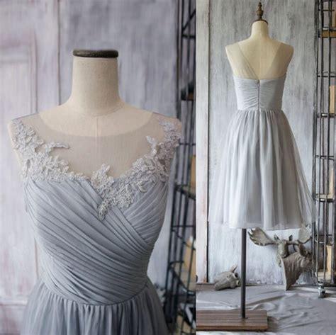 Lila Top 0611 fashion light grey bridesmaid dress chiffon knee
